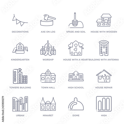 set of 16 thin linear icons such as high, dome, minaret, urban, house repair, high school, town hall from buildings collection on white background, outline sign icons or symbols