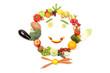 canvas print picture - Lachendes Gesicht aus Obst und Gemüse