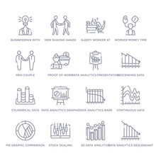 Set Of 16 Thin Linear Icons Such As Data Analytics Descendant Graphic, 3d Data Analytics Bars Graphic, Stock Dealing, Pie Graphic Comparison Interface, Continuous Data Graphic Wave Chart, Analytics
