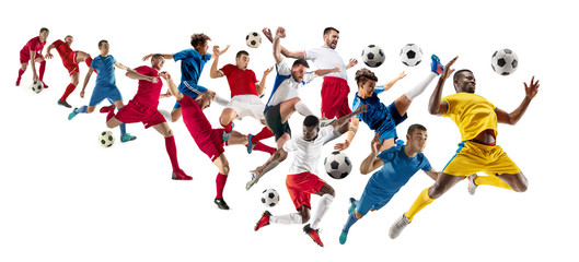 Fototapeta Sport Professional football soccer players with ball isolated on white studio background. Collage with fit male models. Attack, defense, fight. Group of men with sport equipment.