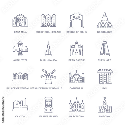 Fotografie, Obraz  set of 16 thin linear icons such as moscow, barcelona, easter island, canyon, ba