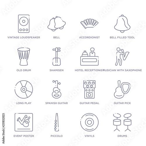 Fényképezés  set of 16 thin linear icons such as drums, vinyls, piccolo, event poster, guitar