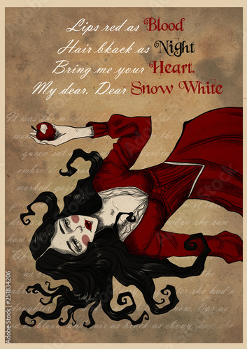 Greeting card with Snow White. Fairytale character. Graphic gothic illustration on vintage kraft background Fotomurales