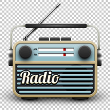 Vintage Portable Radio Receiver, Vector Illustration On Transparent Background
