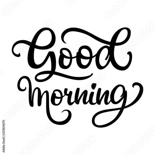 Good morning inscription lettering on white background beautiful composition Wallpaper Mural