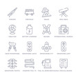 set of 16 thin linear icons such as daily specials board, fuel oil bomb service, hosepipe tool to extinguish fire or gardening, semaphore traffic lights, semaphore light, water bomb city supplier,