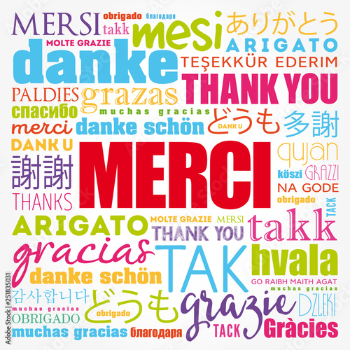 Merci (Thank You in French) word cloud in different