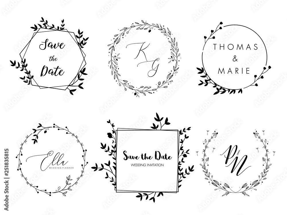 Fototapety, obrazy: Wedding invitation floral wreath minimal design. Vector template with flourishes ornament elements.