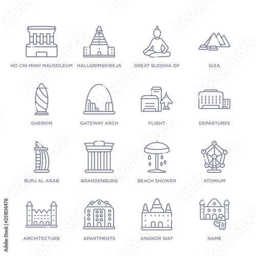 set of 16 thin linear icons such as name, angkor wat, apartments, architecture, Wallpaper Mural
