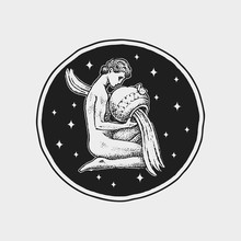 Aquarius Zodiac Icon. Astrolog...