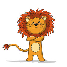 Cute Cartoon Lion. Isolated On White Background.