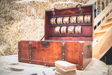 """Vintage Wooden Trunk With Carton Letters Saying """"Bucket List"""" Used As A Suggestion Box At A Birthday Or Wedding Party"""