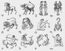 Zodiac Icons. Astrology Horosc...