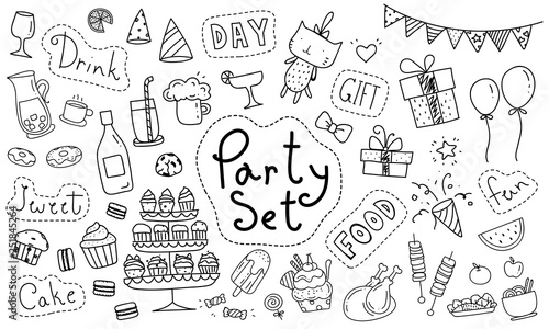 Cute party hand drawn doodle collection isolated on white background Canvas Print