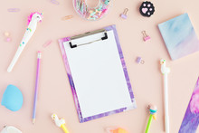 Flat Lay Of Kawaii Stylish School Stationery On Pink Background. Back To School Concept. Top View Of Pastel Office Desk