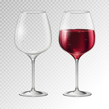 Realistic Vector Illustration Of Full And Empty Champagne Or Wine Glass Isolated On Transperent Background