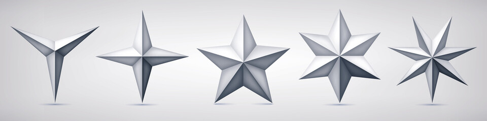 Set of volumetric vector stars. Three, four, five, six and seven coal forms, geometry shape, abstract vector
