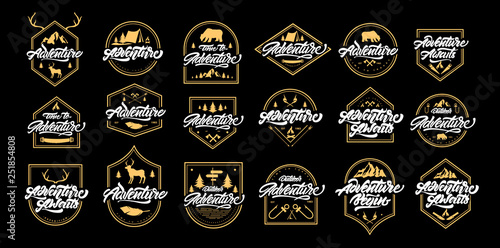 Big Adventure lettering set logos with gold frames. Vintage logos with mountains, bonfires, bear, deer, antlers, arrows. Adventure logo design. Vector emblems for your design. - Vector
