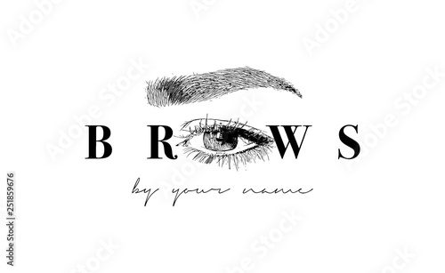 Beautiful vector hand drawing eyebrows for the logo of the master on the eyebrows Wallpaper Mural