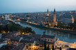 Panorama of Verona in the blue hour