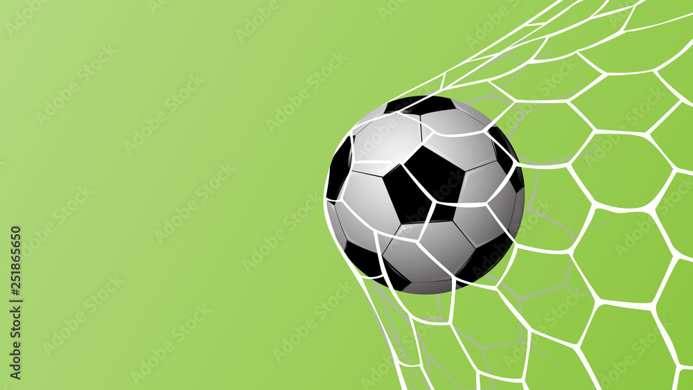 Fototapeta Realistic football in net on green background with copy space for text, vector illustration