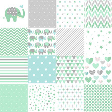 Set Of Baby Shower Patterns. Seamless Pattern Vector. Baby Elephant Vector Set. Graphic Design Elements