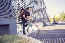 Bike Messenger With Orange Bac...