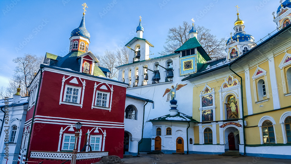 Fototapety, obrazy: Uspenskaya square with Sacristy and belfry in the Pskov-Caves Holy Dormition Monastery. Pechory, Russia