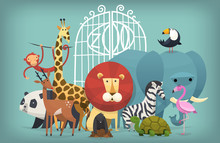 Vector Illustration Card With Animals Standing Near Gates Inviting To Visit A Zoo. Colorful Poster