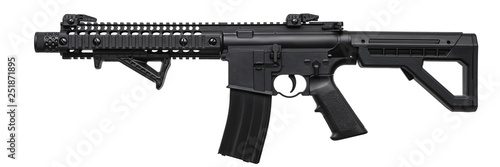 Obraz na płótnie Modern black air rifle isolated on white back
