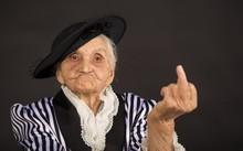 Old Grandma In A White-black S...