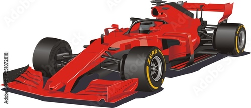Photo sur Aluminium F1 Racing car in the vector. Formula 1. Red car on white background