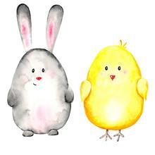 Watercolor Set Of 2 Animals: G...