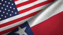 United States And Texas State Two Flags Textile Cloth, Fabric Texture