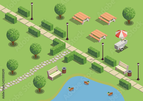 City Park Isometric Composition