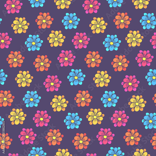 Cute Floral Seamless Pattern With Colorful Daisy Flowers