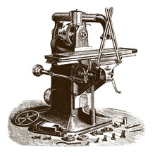 Antique Plain Milling Machine With Range Of Tools And Spare Parts After An Engraving Or Etching From The 19th Century