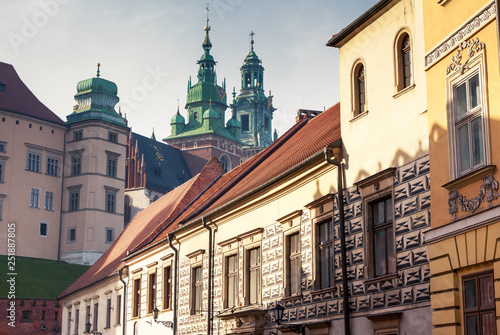 Fototapeta Fantastic view of the ancient city Krakow on a sunny day. obraz