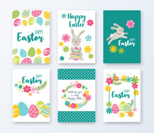 Set Of 6 Happy Easter Greeting Cards. Easter Bunny, Eggs And Flowers. Vector Illustration