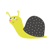Little Green Snail In Vector. Hand Drawn Cute Character Design.