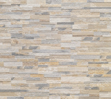 Grey And Beige Wall Stone Mosaic Tiles Texture Background.