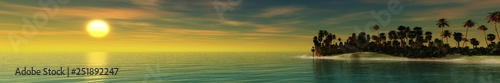 sea landscape panorama, sea sunset over a tropical island, palm trees on the shore during sunset, the sun above the sea in the tropics,