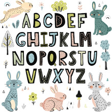Alphabet With Cute Rabbits. Hand Drawn Letters From A To Z. Vector Illustration