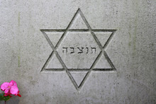 Star Of David Symbol On Gravestone At Municipal Cemetery In Amsterdam, The Netherlands