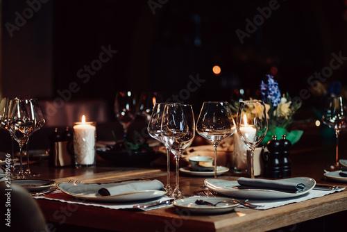 Obraz luxury tableware beautiful table setting in restaurant - fototapety do salonu