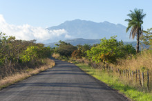 Image Showing A Country Road In The Chiriqui Province Of Western Panama. The Volcan Baru Is In The Background. It Is The Best Known Volcano In Panama.