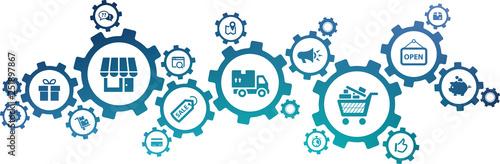 Fototapety, obrazy: retail icon concept – store management, shopping & e-commerce, logistics & organization – vector illustration