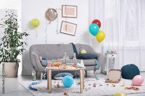 Messy living room interior. After party chaos Canvas Print