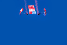 Two Skydiver With Amarican Flag