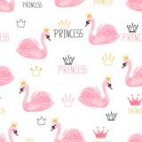 Seamless swan princess pattern. Vector watercolor illustration. - 251902614